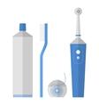 Oral hygiene Set of toothbrush dental floss vector image vector image
