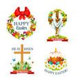 paschal easter isolated icons set vector image vector image