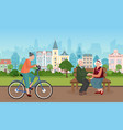 people spend time in city park cityscape vector image vector image