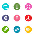 pinion icons set flat style vector image