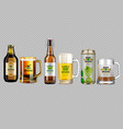realistic beer bottle and glass vector image
