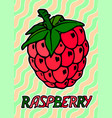 red raspberry with text on waving background vector image