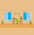 room interior with windows and house plants vector image