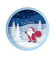 santa claus in forest with snow in winter vector image