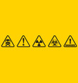 set danger signs isolated on yellow background vector image vector image