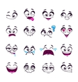 Set of funny cartoon comic faces vector image