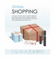 shopping online concept gift boxes cosmetics vector image vector image