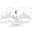 silhouette of the city and star and moon in a flat vector image