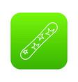 snowboard icon digital green vector image vector image