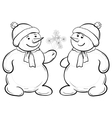 snowmen with snow flowers vector image vector image