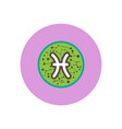 Stylish icon in color circle zodiac sign pisces
