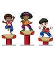Three children on balance beam vector image vector image