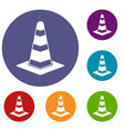 traffic cone icons set vector image vector image