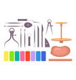 various art school instruments and tools vector image
