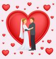 wedding couple newlyweds background heart vector image vector image