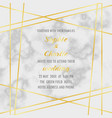 wedding invitation with gold geometric frame vector image vector image