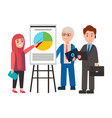 woman and men on presentation vector image