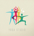 Yoga studio icon design of people doing meditation vector image vector image