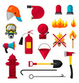 set of firefighting items fire protection vector image