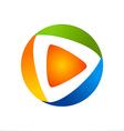 video play icon color logo vector image