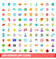 100 workflow icons set cartoon style vector image vector image