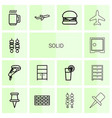 14 solid icons vector image vector image