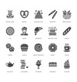 bakery confectionery flat glyph icons sweet shop vector image vector image