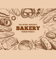bakery frame french baguette fresh bread and vector image vector image
