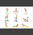 beautiful woman exercising in the gym with sports vector image vector image