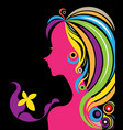 beautiful woman silhouette with a butterfly vector image