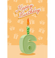 Birthday candle number 6 with flame vector image vector image