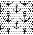 Black-white polka dots pattern with anchors vector image
