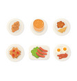 breakfast fresh food top view breakfast meal vector image vector image