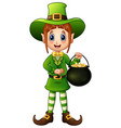 cartoon girl leprechaun holding a pot of gold vector image