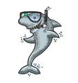 cartoon shark diving mask snorkel sketch vector image