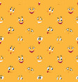 cartoon smiley pattern funny crazy faces happy vector image vector image