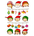 Christmas theme with people and ornaments vector image vector image