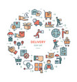circular colorful template delivery logistic set vector image vector image
