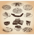 collection pie cakes and sweets icons vector image
