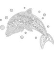 coloring book page with dolphin vector image