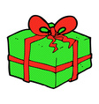 comic cartoon christmas present vector image vector image