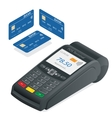Credit card terminal on a white background POS vector image vector image