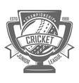 cricket badge championship vector image vector image