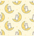 cute rabbit sitting on moon seamless pattern vector image vector image