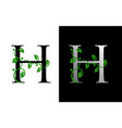 elegant h letter icon with luxury green leaf logo vector image vector image