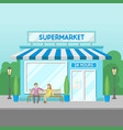 facade of supermarket building 24 hour front vector image vector image
