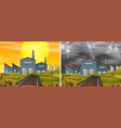 factory building different weather vector image vector image