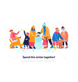 family winter flat composition vector image vector image