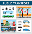 flat public transport square concept vector image vector image