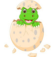 funny baby dinosour egg hatch smile vector image